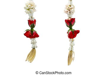 Colorful Thai garland flower from red roses,White Champaka,Dahlia and Jasmine flowers on white background