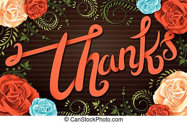 colorful thank you calligraphy design