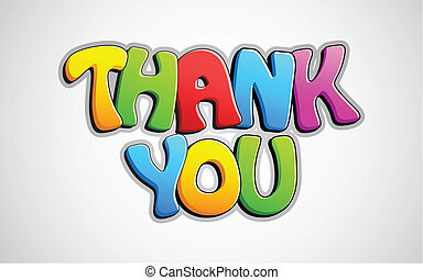 Colorful Thank You - illustration of colorful thank you text...