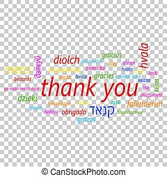 Colorful thank you in many languages vector icon. Global thank you text flat vector illustration. Business concept pictogram on isolated transparent background.