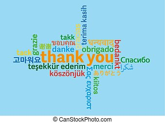 colorful thank you word cloud in different languages on blue background