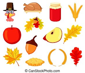 Colorful thanksgiving element set