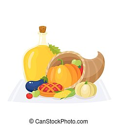 Colorful thanksgiving food, decoration elements