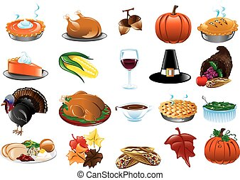 Thanksgiving Icons - Colorful Thanksgiving Icons