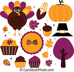 Colorful thanksgiving set isolated on white
