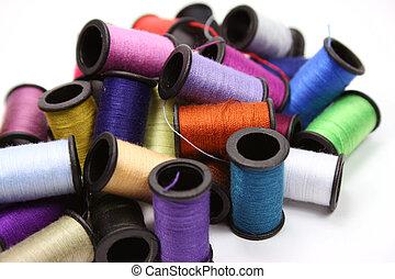 Colorful thread spools
