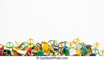 colorful thumb tack on the white background for pin the...
