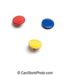 Colorful thumb tacks - Set of thumb tacks in different...