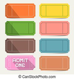 Colorful Tickets Set. Admit One Ticket Vector.