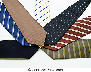 Colorful ties isolated on white background