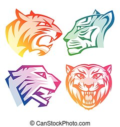 Colorful tiger head logos with rainbow gradients set on white background