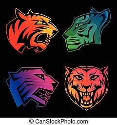 Colorful tiger head logos with rainbow gradients set on black background