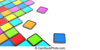 colorful tiles background - abstract 3d illustration of...
