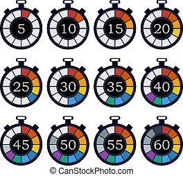Colorful timer icon set. Vector illustration