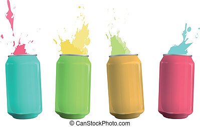 Colorful tin con drop background.