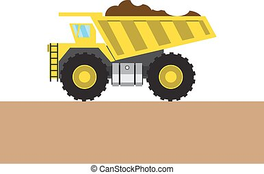 Colorful tip-truck picture - Colorful tip-truck on white and...