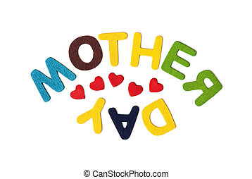 Colorful title MOTHER'S DAY on the white background