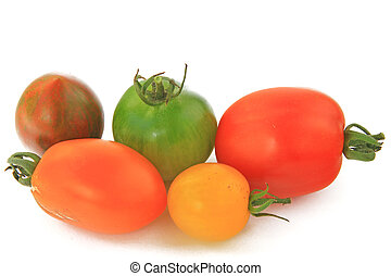 Various types of tomatoes in many colors (Solanum lycopersicum)