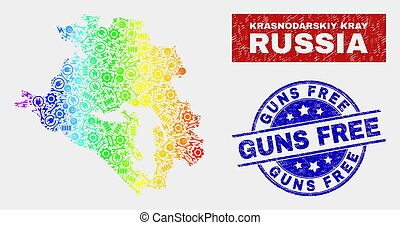 Colorful Tools Krasnodarskiy Kray Map and Grunge Guns Free ...