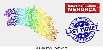 Colorful Tools Menorca Island Map and Distress Last Ticket ...