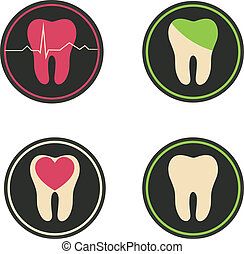 Colorful tooth illustrations