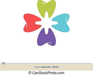 Colorful Tooth Shape Logo Template Illustration Design