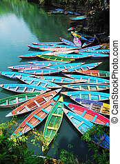 Colorful tour boats - Scenery of colorful tour boats at a ...
