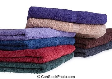 Colorful towels on a white background
