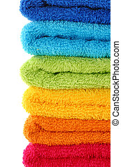 Colorful towels isolated on white background