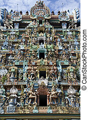 Colorful Tower Carving - Colorful carving on tower at...