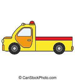 Colorful towing truck for transportation emergency cars. Illustration isolated on white background