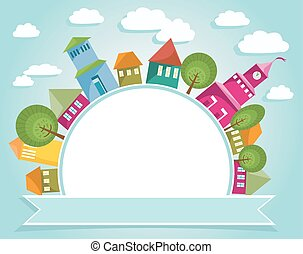 Fantastic town with colorful houses around round banner. Abstract city and soft blue sky with clouds. Free space for text.