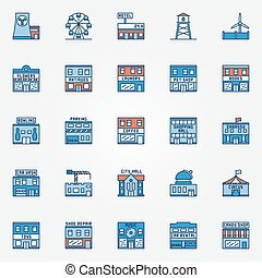 Colorful town building icons