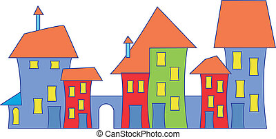 Cartoon colorful town house.