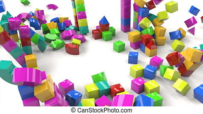 Colorful toy castle out blocks on white background. 3d illustration. castle tower.