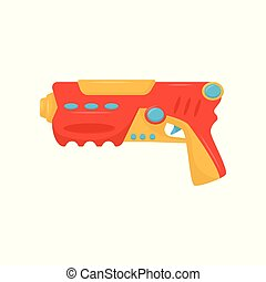 Colorful toy gun, weapon pistol for kids game vector...