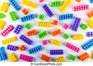 colorful toy plastic building blocks. top view