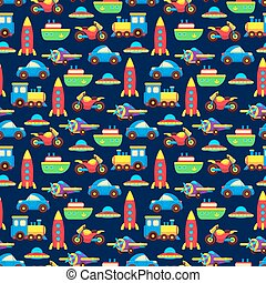 Colorful toy transport seamless pattern