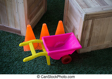 Colorful Toys for kids on grass