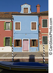 Colorful Traditional Buildings in Burano, Venice
