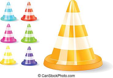 colorful traffic cones icon