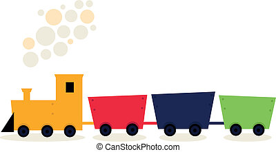 Colorful Train in fresh colors isolated on white - Cartoon...