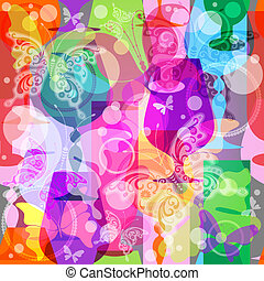 Colorful translucent wine glasses with butterflies. Seamless pattern (vector EPS 10)