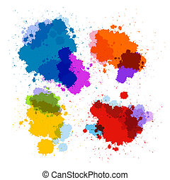 Colorful Transparent Vector Stains, Blots, Splashes Set