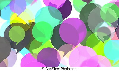 Colorful transparent word bubbles or speech balloons rising...