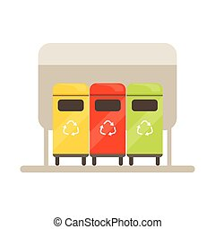 Colorful trash recycling containers, rubbish bins row, waste...