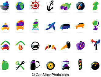 Colorful travel and car services icons