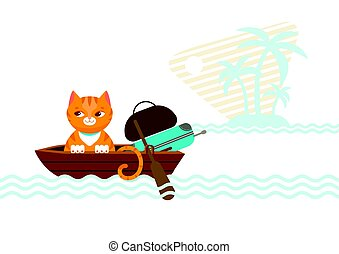 Colorful Traveling Cat Concept