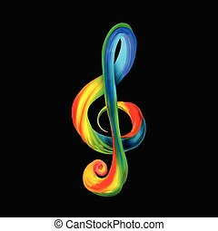 Colorful treble clef in the form of twisted paint on a black background