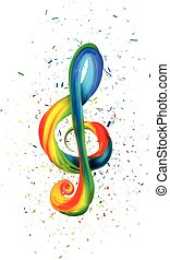 Colorful treble clef in the form of twisted paint on a white background